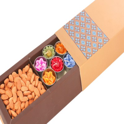 Ghasitaram Gifts Diwali Gifts Dryfruit Golden Box with T- Lites and Almonds Almonds