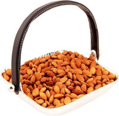 Ghasitaram Gifts Silver Aluminum Square Tray Handle Almonds
