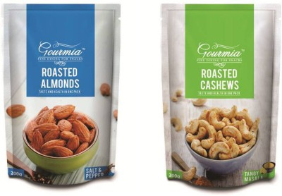 Gourmia Roasted Almonds Salt & Pepper 200g + Tangy Masala Cashews(400 g, Box)
