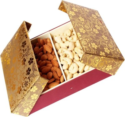 Ghasitaram Gifts Gold Book Shining Box Cashews, Almonds