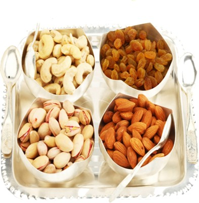 Ghasitaram Gifts Set of 4 Rose Cut Bowls with Dryfruits Cashews, Almonds, Raisins, Pistachios