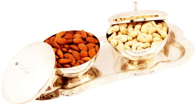 Ghasitaram Gifts Set of 2 Silver Bowl Lid Set with Dryfruits Cashews, Almonds