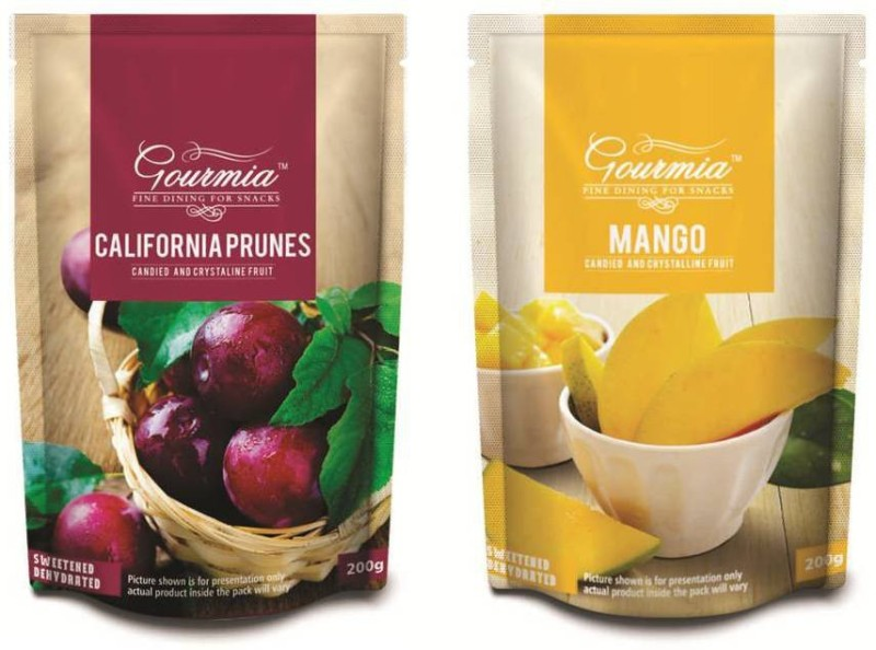 Gourmia California Prunes Candied and Crystalline Prunes, Mango(200 g, Pouch)