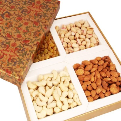 Ghasitaram Gifts Brown Printed Dryfruit Box Cashews, Almonds, Pistachios, Raisins