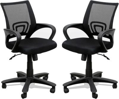 TimberTaste Rocky Metal Office Chair(Black, Set of 2)