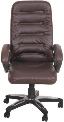 Ks Chairs Leatherette Office Chair(Brown)