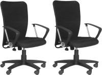 Woodstock India Fabric Office Chair(Black, Black, Set of 2)