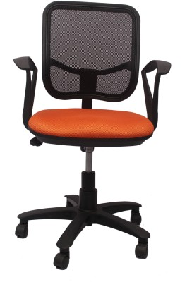 V J Interio Fabric Office Chair(Orange)