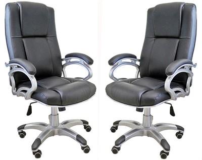 TimberTaste SOPHIA Metal Office Chair(Black, Set of 2)