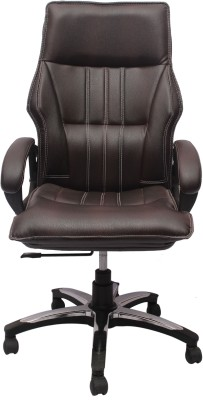 V J Interio Leatherette Office Chair(Brown)
