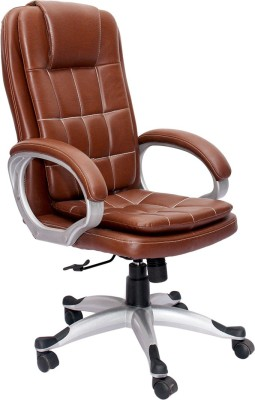 V J Interior Engineered Wood Office Chair(Brown)