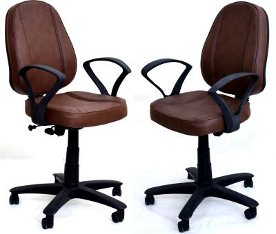 TimberTaste LORA Metal Office Chair(Brown, Set of 2)