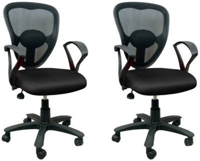 Mavi Fabric Office Chair(Black, Set of 2)