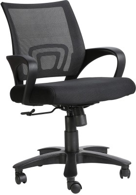 V J Interior Engineered Wood Office Chair(Black)