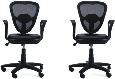 Adiko Plastic Office Chair(Black, Set of 2)