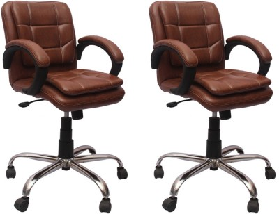 VJ Interior Leatherette Office Chair(Brown, Set of 2)