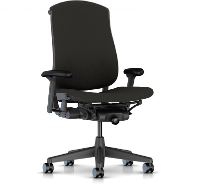 HermanMiller Celle - Graphite Upholstered Cellular back with Graphite upholstered Seat Cushion : Cellular Suspension Synthetic Fiber Office Chair(Black)