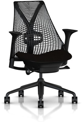 HermanMiller Sayl with Height adjustable arms : 3D Elastomer Strands Synthetic Fiber Office Chair(Black)