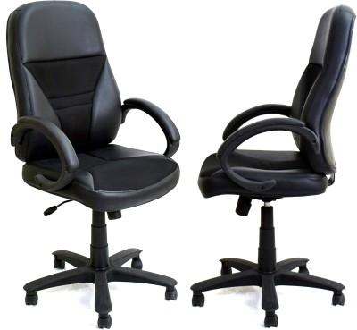 TimberTaste ECO Metal Office Chair(Black, Set of 2)