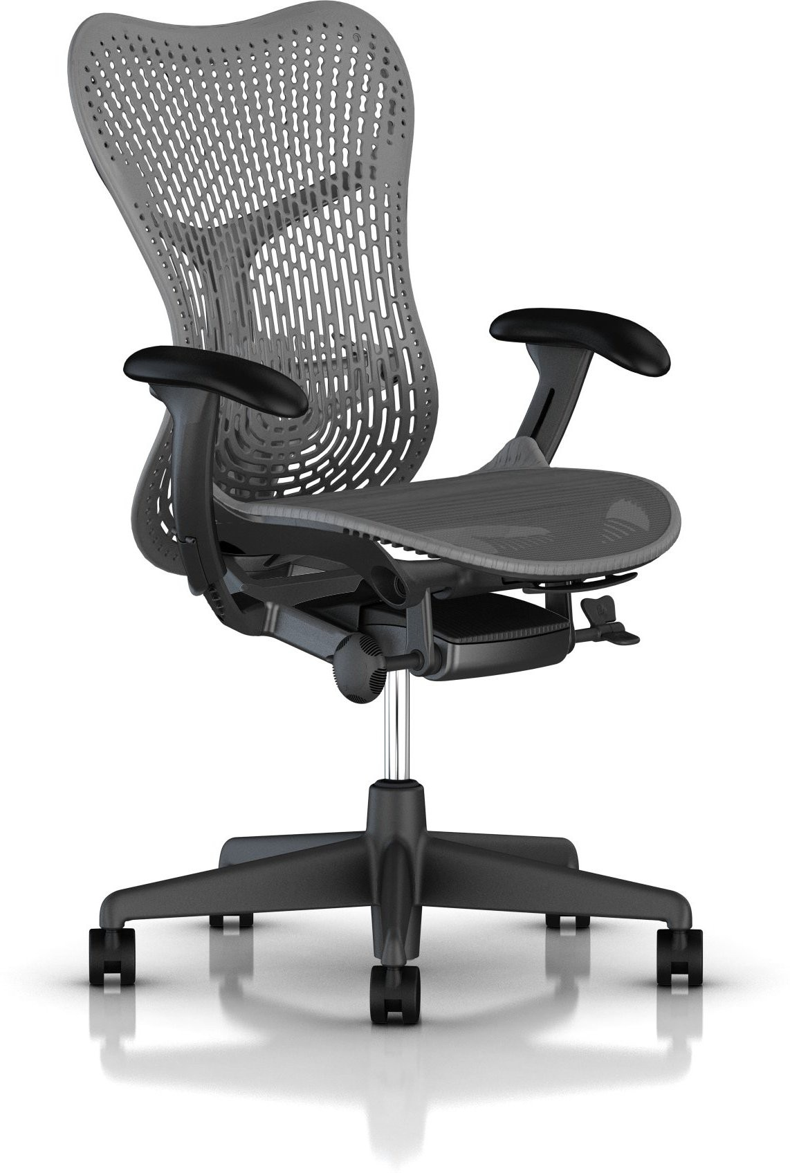 View HermanMiller Mirra 2 - Slate Grey Triflex back : Slate Grey Seat : Triflex Polymer NA Office Chair(Black) Furniture (HermanMiller)