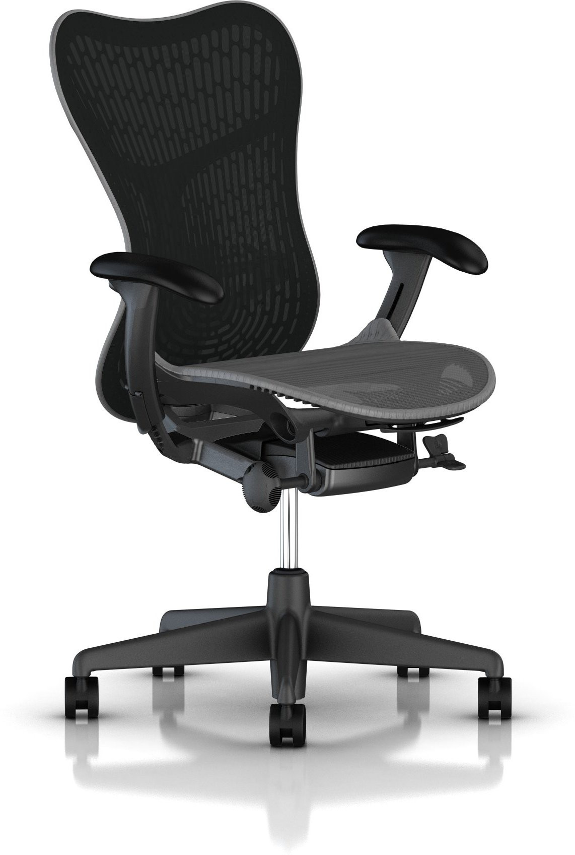 View HermanMiller Mirra 2 - Slate Grey Butterfly suspension back : Slate Grey Seat : Triflex Polymer NA Office Chair(Black) Furniture (HermanMiller)