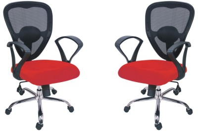 Adiko Plastic Office Chair(Black, Red, Set of 2)
