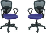 Adiko Fabric Office Chair (Blue, Set of ...