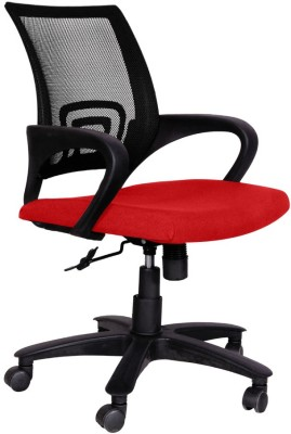 Woodstock India Fabric Office Chair(Black, Red)