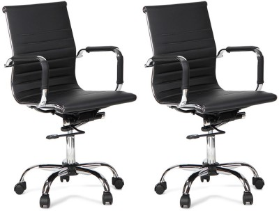 Woodstock India Leatherette Office Chair(Black, Black, Set of 2)
