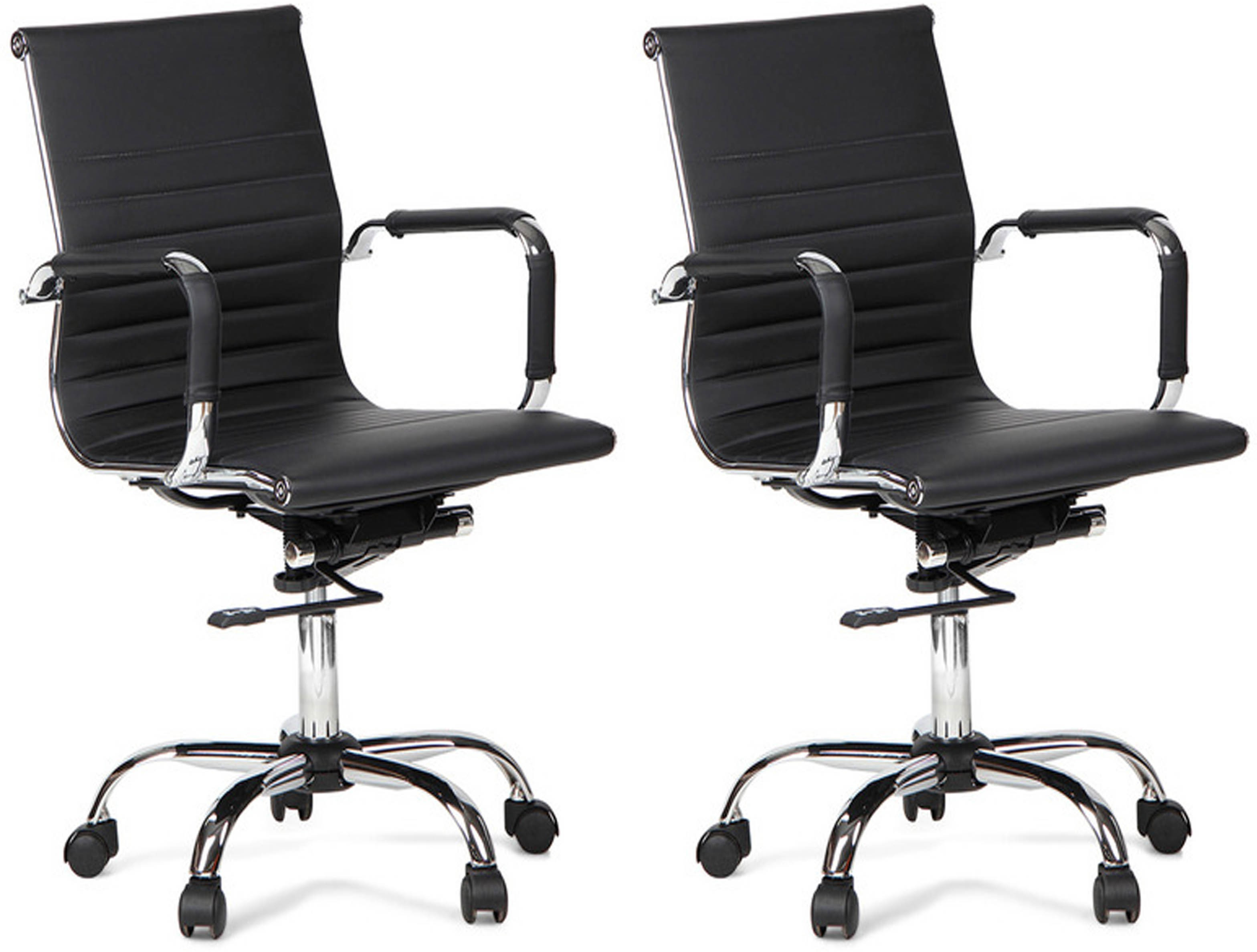 View Woodstock India Leatherette Office Chair(Black, Black, Set of 2) Furniture (Woodstock India)