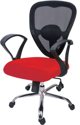 Adiko Plastic Office Chair(Black, Red)