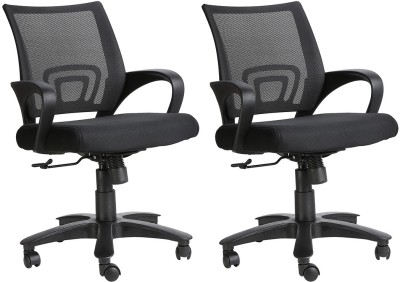 VJ Interior Fabric Office Chair(Black, Set of 2)