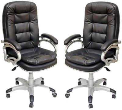 TimberTaste NANCY Metal Office Chair(Black, Set of 2)
