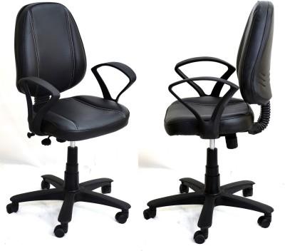 TimberTaste LORA Metal Office Chair(Black, Set of 2)