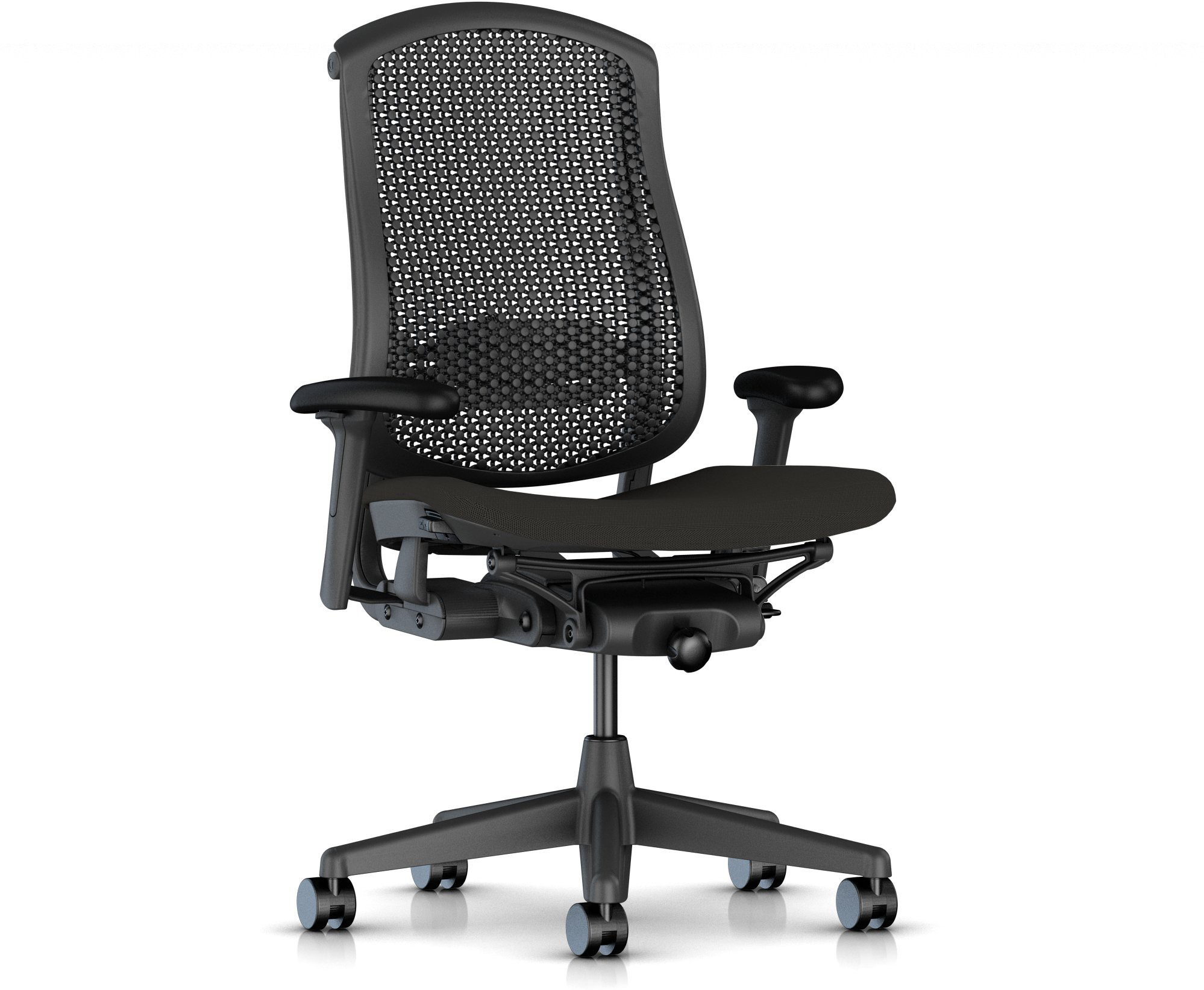 View HermanMiller Celle - Graphite Cellular back with Graphite upholstered Seat Cushion : Cellular Suspension NA Office Chair(Black) Furniture (HermanMiller)
