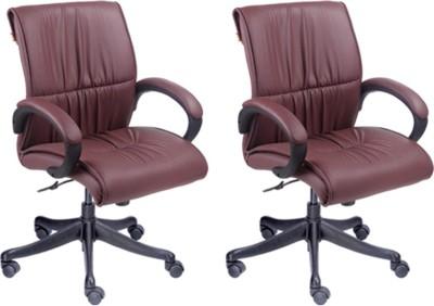 Mavi Leatherette Office Chair(Maroon, Set of 2)