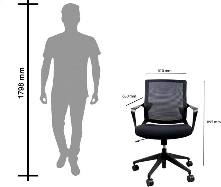 View BossesCabin Contain Fabric Office Chair(Black) Furniture (BossesCabin)