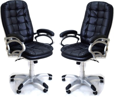 TimberTaste SUNNY Metal Office Chair(Black, Set of 2)