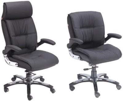 Mavi Leatherette Office Chair(Black, Set of 2)