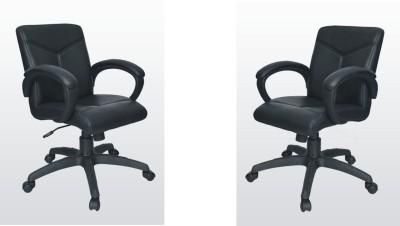 Adiko Leatherette Office Chair(Black, Set of 2)