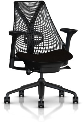HermanMiller Sayl with Fully adjustable arms : 3D Elastomer Strands Synthetic Fiber Office Chair(Black)