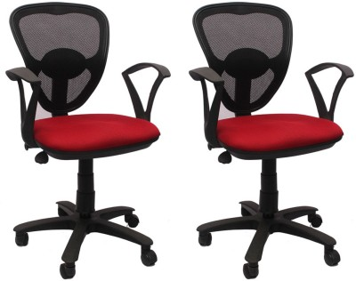 VJ Interior Fabric Office Chair(Red, Black, Set of 2)