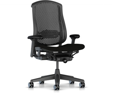 HermanMiller Celle - Graphite Cellular back with Black upholstered Seat Cushion : Cellular Suspension Synthetic Fiber Office Chair(Black)