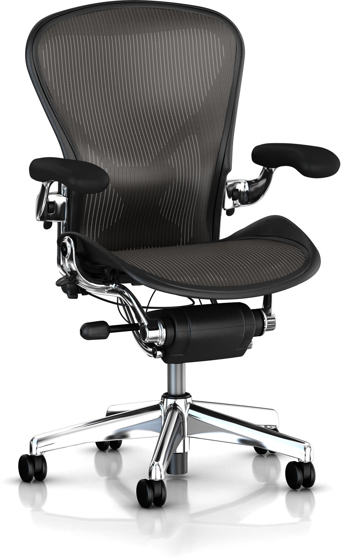View HermanMiller Aeron - Classic Carbon Pellicle : Polish Aluminum base : Pellicle Backrest and Seat NA Office Chair(Black) Furniture (HermanMiller)