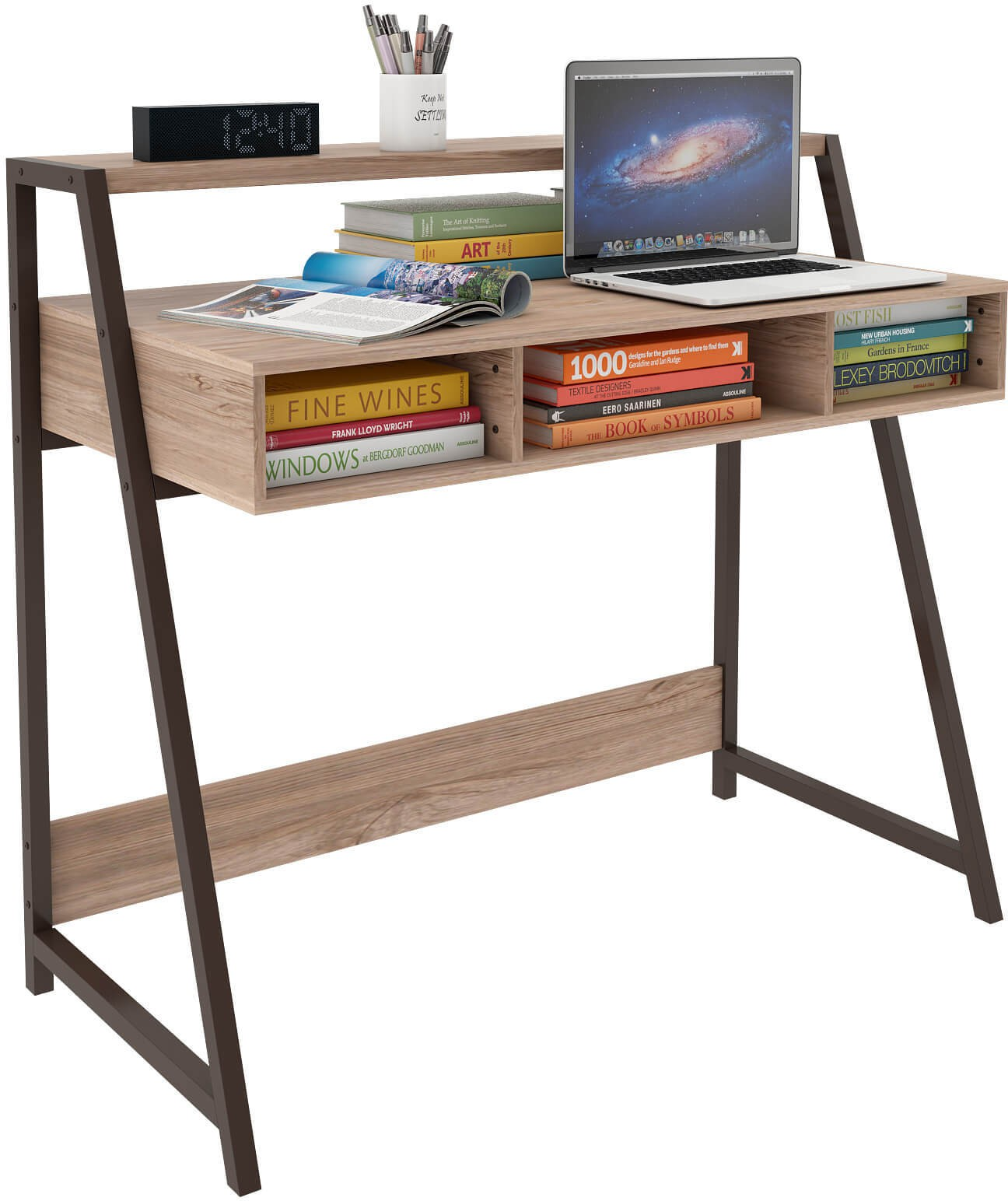 View Housefull Engineered Wood Study Table(Free Standing, Finish Color - Stamped Black) Furniture (Housefull)