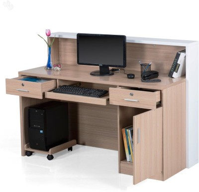 Royal Oak Acacia Engineered Wood Office Table(Free Standing, Finish Color - White)