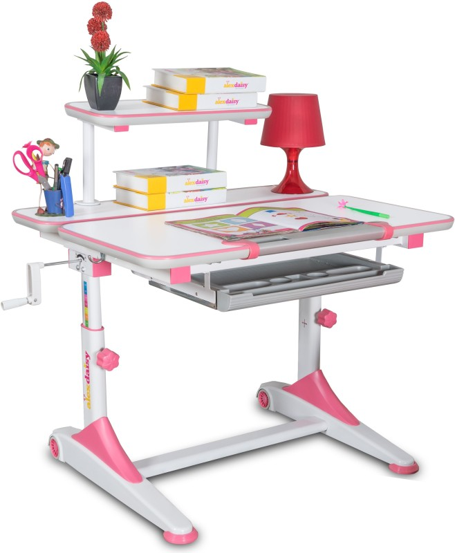 Alex Daisy Universal Metal Study Table(Free Standing, Finish Color - Pink & White)