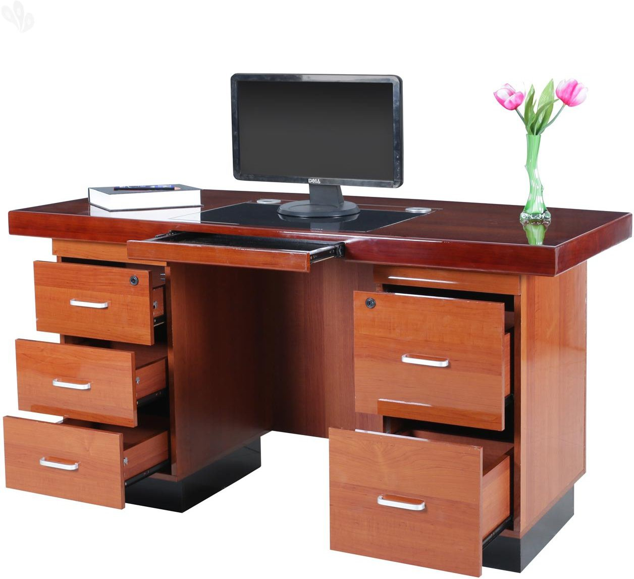 View Royal Oak Retro Engineered Wood Office Table(Free Standing, Finish Color - Honey Brown) Furniture (Royal Oak)
