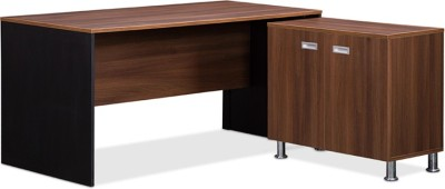 Debono Jewel Table with side unit in Acacia Dark with Black Sides and Maple Pad by Debono Engineered Wood Office Table