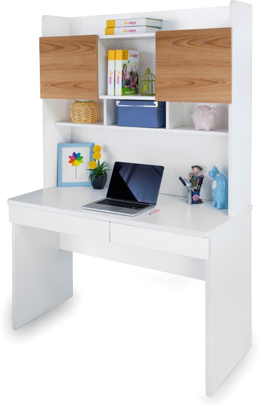 Alex Daisy Country Engineered Wood Study Table(Free Standing, Finish Color - Oak & White)